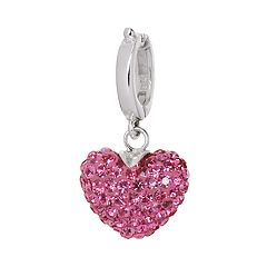 Individuality Beads Sterling Silver Pink Crystal Heart Charm