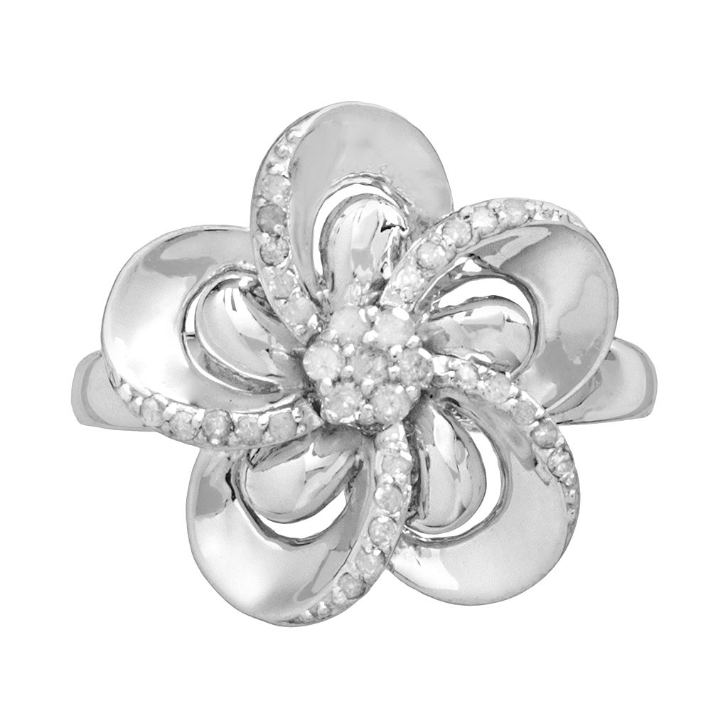 Sterling Silver 1/4-ct. T.W. Diamond Flower Ring