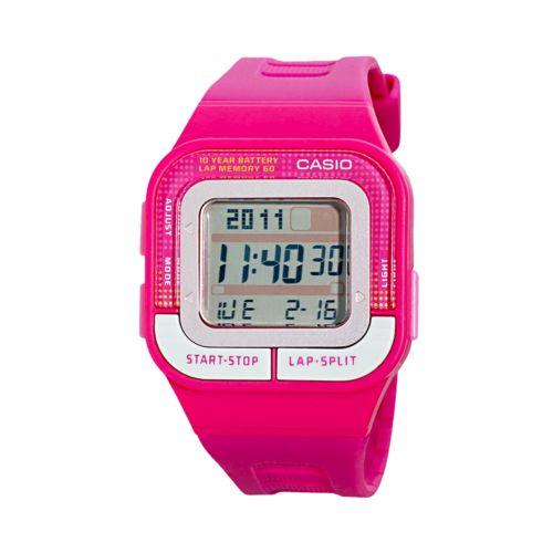 Casio Watch - Women's Runner Series 60-Lap Pink Resin Digital Chronograph
