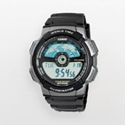 Casio Illuminator Silver Tone Resin World Time Digital Chronograph Watch - Men