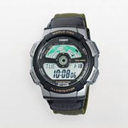 Casio Illuminator Silver Tone World Time Digital Chronograph Leather Watch - Men
