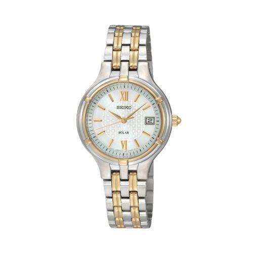 Seiko Solar Stainless Steel Two Tone Watch - Women