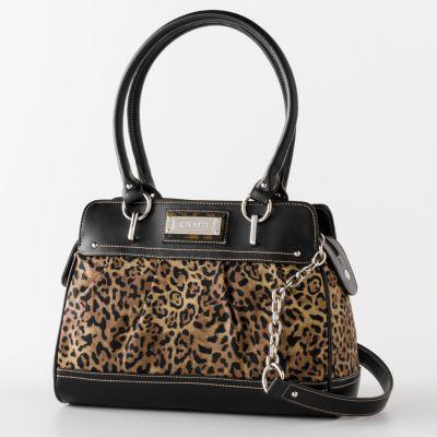 Chaps Pleated Leopard Satchel