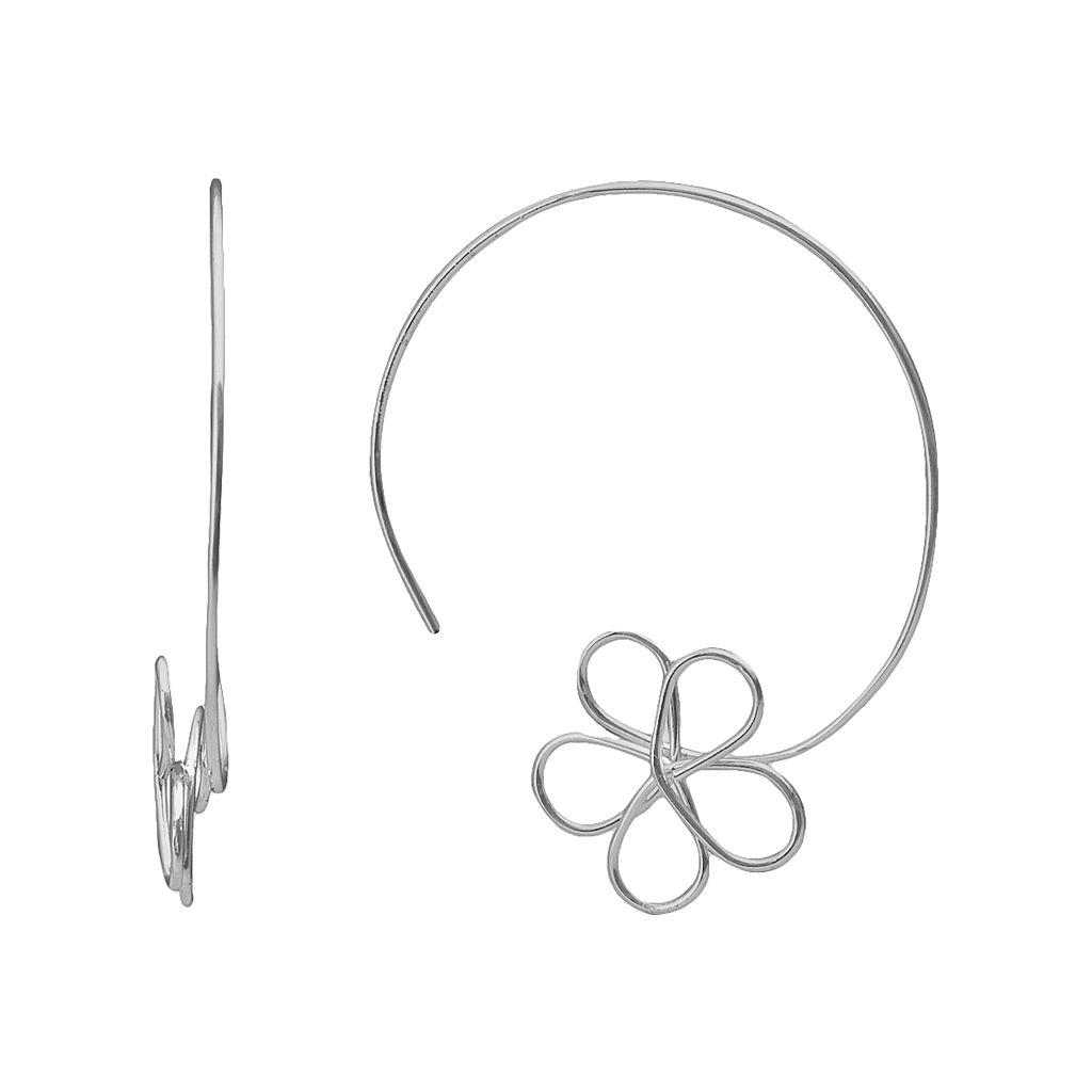Sterling Silver Wire Flower Hoop Earrings