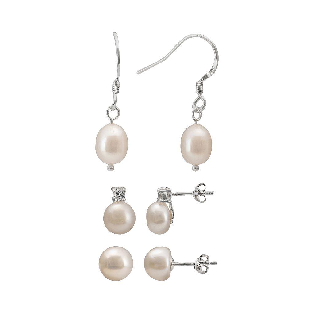 Sterling Silver Freshwater Cultured Pearl & Cubic Zirconia Stud & Drop Earring Set
