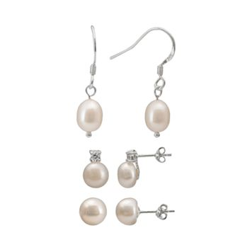 Sterling Silver Freshwater Cultured Pearl & Cubic Zirconia Stud & Drop Earring Set