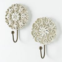 New View 2 pc Floral Wall Hook Set