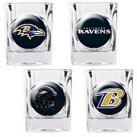 Baltimore Ravens 4 pc Square Shot Glass Set