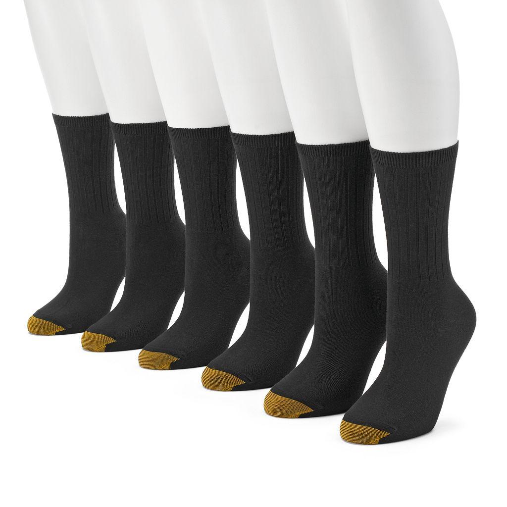 GOLDTOE 6-pk. Ribbed Crew Socks - Women