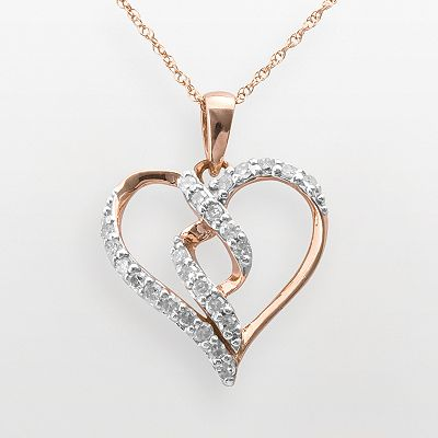 10k Rose Gold 1/4-ct. T.W. Diamond Heart Pendant