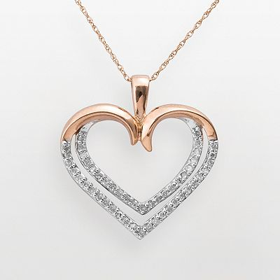 10k Rose Gold 1/4-ct. T.W. Diamond Double-Heart Pendant