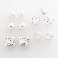 Silver Tone Simulated Crystal Stud Earring Set