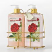 Simple Pleasures Red Floral Hand Soap and Hand Lotion Caddy Gift Set