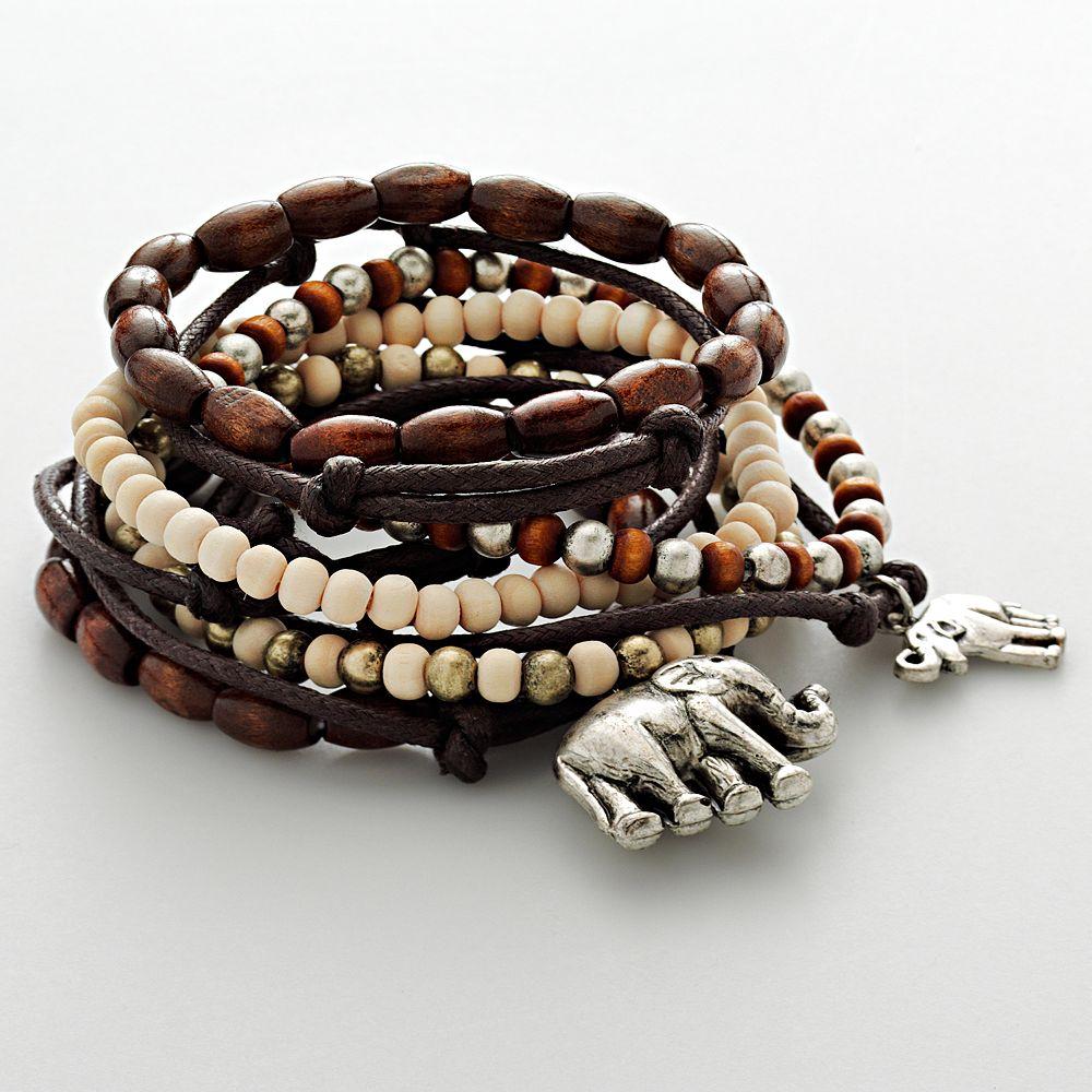 Mudd® Silver Tone Elephant Charm & Wood Bead Stretch Bracelet Set