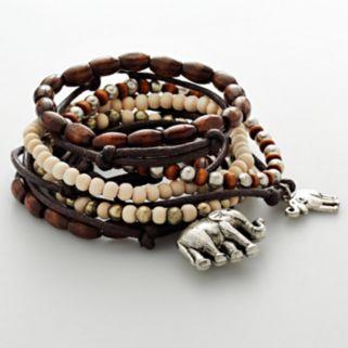 Mudd® Silver Tone Elephant Charm and Wood Bead Stretch Bracelet Set