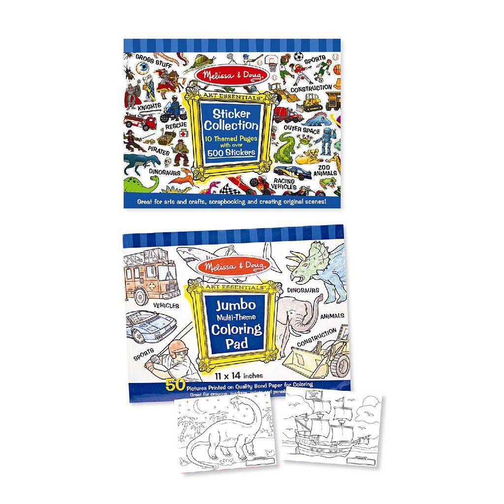 Melissa & Doug Multi-Theme Coloring & Sticker Pad Bundle