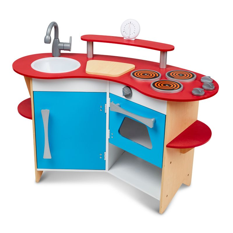 Melissa and Doug Cook's Corner Wooden Kitchen Playset, Multicolor