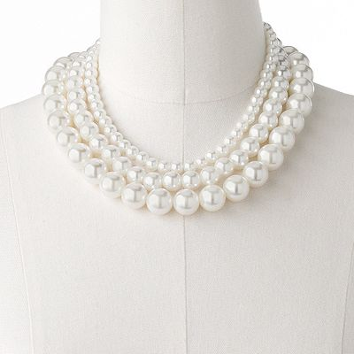 Candie's Simulated Pearl Stretch Necklace Set