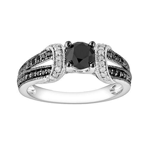 Stella Grace Round-Cut Black & White Diamond Engagement Ring in 10k White Gold (1 ct. T.W.)