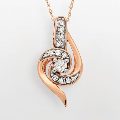 10k Rose Gold 1/4-ct. T.W. Diamond Swirl Pendant