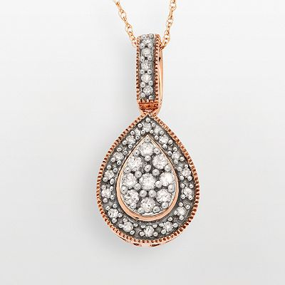 10k Rose Gold 1/4-ct. T.W. Diamond Teardrop Pendant