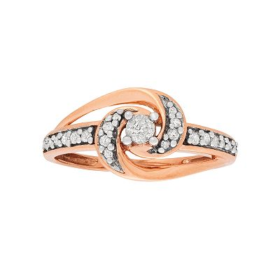 10k Rose Gold 1/4-ct. T.W. Diamond Swirl Ring