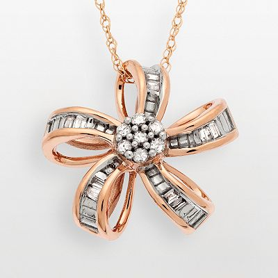 10k Rose Gold 1/10-ct. T.W. Diamond Flower Pendant