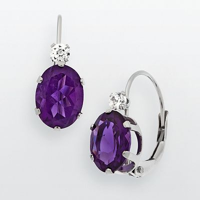 10k White Gold Amethyst and Cubic Zirconia Drop Earrings