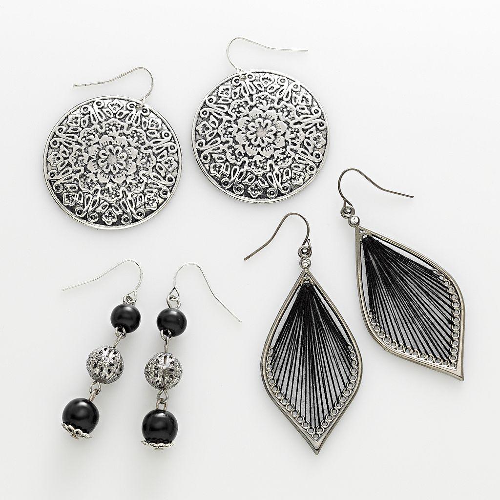 Mudd® Silver Tone Filigree Disc, Bead Linear & Thread-Wrapped Drop Earring Set