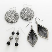 Mudd Silver Tone Filigree Disc, Bead Linear and Thread-Wrapped Drop Earring Set