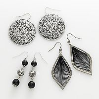 Mudd® Silver Tone Filigree Disc, Bead Linear & Thread-Wrapped Drop Earring Set
