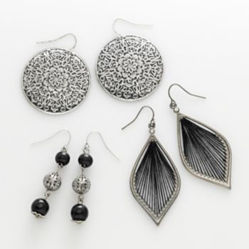 Mudd® Silver Tone Filigree Disc, Bead Linear and Thread-Wrapped Drop Earring Set