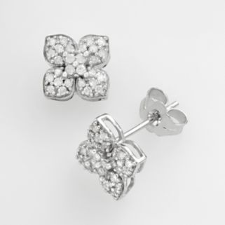 10k White Gold 1/4-ct. T.W. Diamond Lotus Flower Stud Earrings