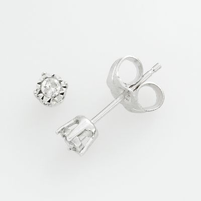 10k White Gold Round-Cut Diamond Accent Stud Earrings