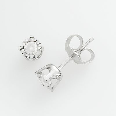 10k White Gold 1/8-ct. T.W. Round-Cut Diamond Stud Earrings