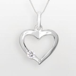 Sterling Silver Cubic Zirconia Openwork Heart Pendant