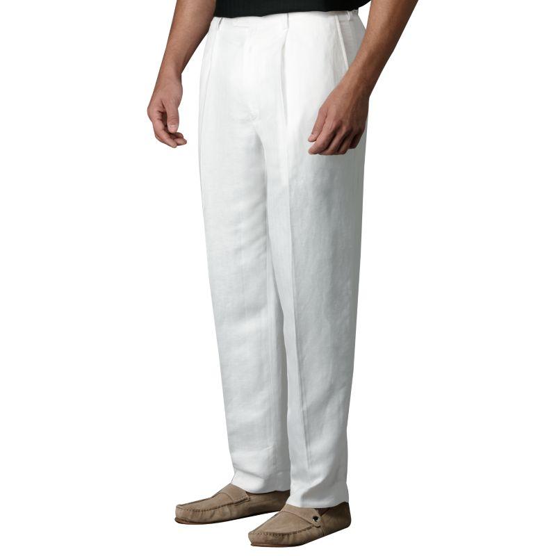 Centro herringbone pleated linen suit pants white