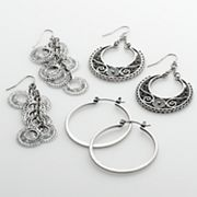 Mudd Silver Tone Filigree and Linear Drop and Hoop Earring Set