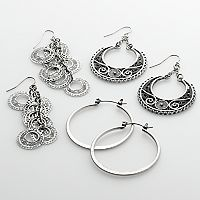 Mudd® Silver Tone Filigree & Linear Drop & Hoop Earring Set