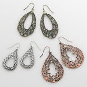 Mudd Tri-Tone Filigree Teardrop Earring Set