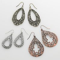 Mudd® Tri-Tone Filigree Teardrop Earring Set