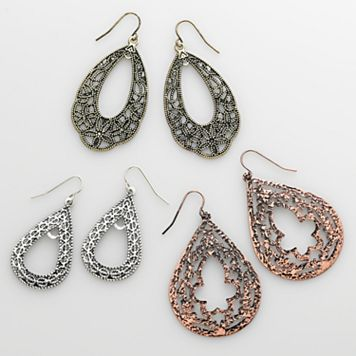 Mudd® Tri-Tone Filigree Teardrop Earring Set