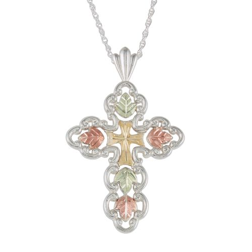 Black Hills Gold Four Tone Openwork Cross Pendant in Sterling Silver