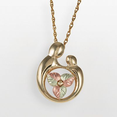 10k and 12k Gold Tri-Tone Motherly Love Leaf Pendant