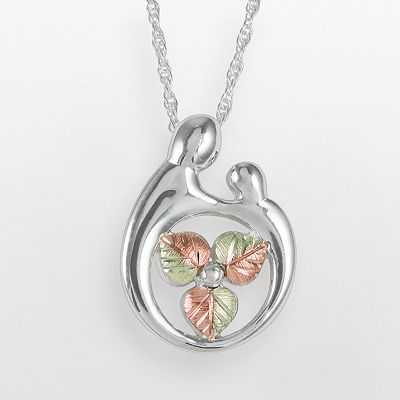 12k Gold and Sterling Silver Tri-Tone Motherly Love Leaf Pendant