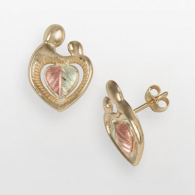 10k and 12k Gold Tri-Tone Motherly Love Heart Stud Earrings