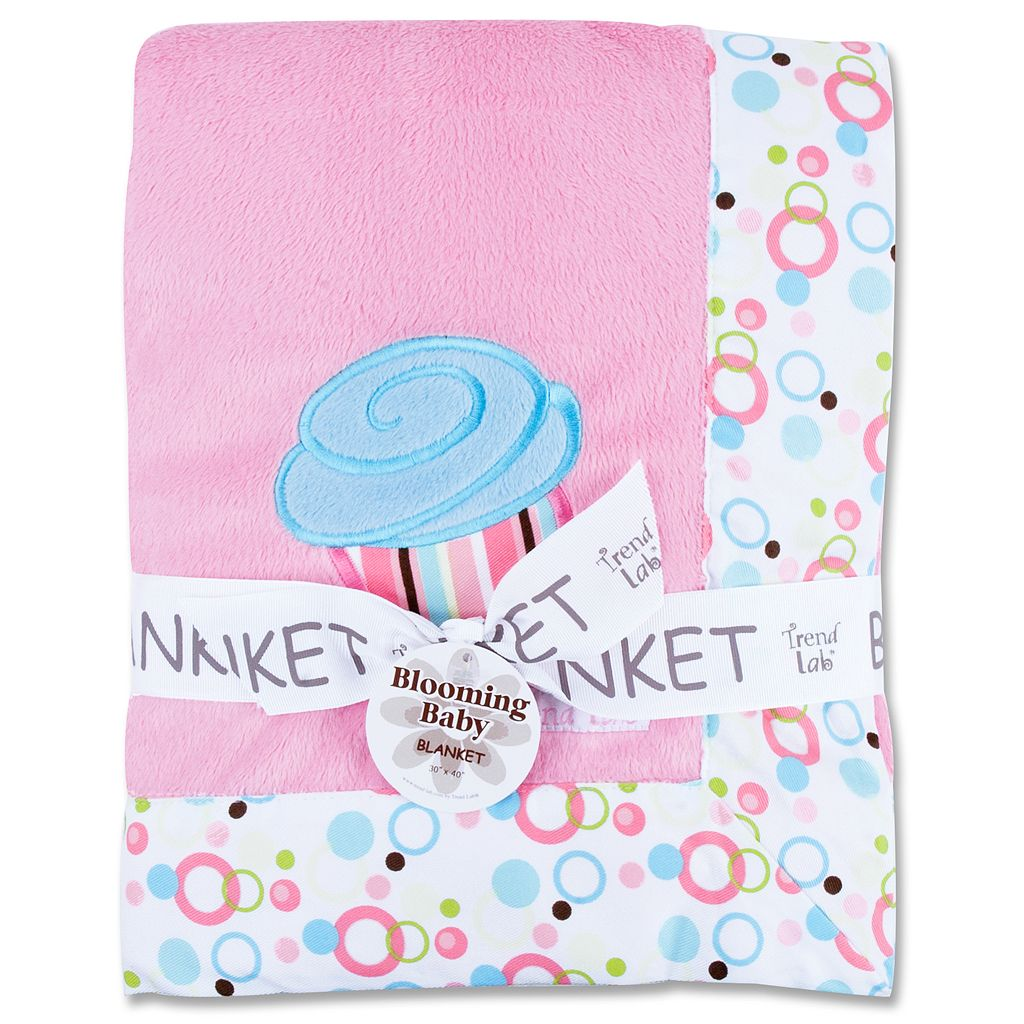 Trend Lab Cupcake Velour Dot Border Receiving Blanket