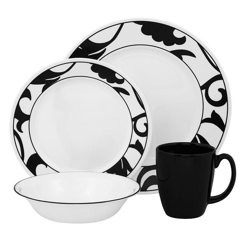 Best Buy Corelle Vive Noir 16-pc. Dinnerware Set Black Friday 2014 ...