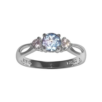 Sterling Silver Blue Topaz & Cubic Zirconia Ring