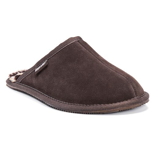 c6946c2bfa7 MUK LUKS Men's Leather Suede Berber Fleece Scuff Slippers